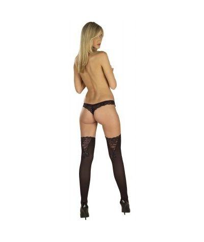 Κάλτσες με σχέδιο V δαντέλας. Μαύρο