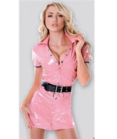 Φόρεμα από vinyl με ζώνη. Ροζ