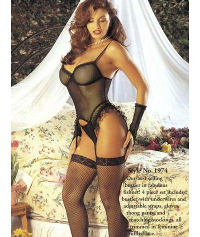 Set 6 pcs  corset fishnet.  Σετ 6 τεμ. διχτυωτό. Άσπρο