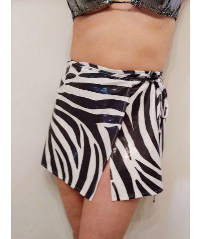 Pareo skirt. Δετή φούστα λαμέ. Ζέμπρα